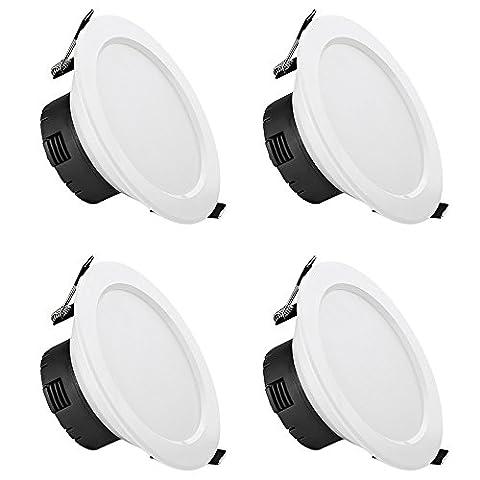 LE Lot de 4 Plafonnier Spot LED 12W Ø110mm, Lampe Encastrée, 750lm Equivalente à une Ampoule Halogène de 25W, Lumière Blanc chaud 3000K pour cuisine, salon, chambre, salle à manger