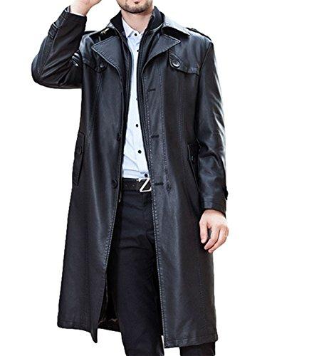 Plaer da uomo Business doppio collare lungo cappotto più velluto inverno caldo lungo giacca in pelle PU Black L/Busto: 124 cm