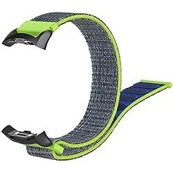 Bracelet pour Samsung Gear Fit2/Fit2 Pro, Smartwatch Accessoires Nylon Bracelet de Montre Bracelet de Remplacement Smartwatch pour Hommes Femmes 10x5x5cm vert