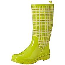 Playshoes Women's Rain Wellies Plaid Wellington Rubber Boots, Green (Gruen 29), 8.5 UK