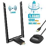 TouchSKY Adaptador Antena WiF, USB 3.0 Dual Band Receptor WiFi 2 Antenas WiFi de 5dBi Soporte de 5Ghz 867Mbps + 2.4GHz 300 Mbps para PC con Windows XP/Vista / 7/8/8.1/10/ Mac OS/Linux