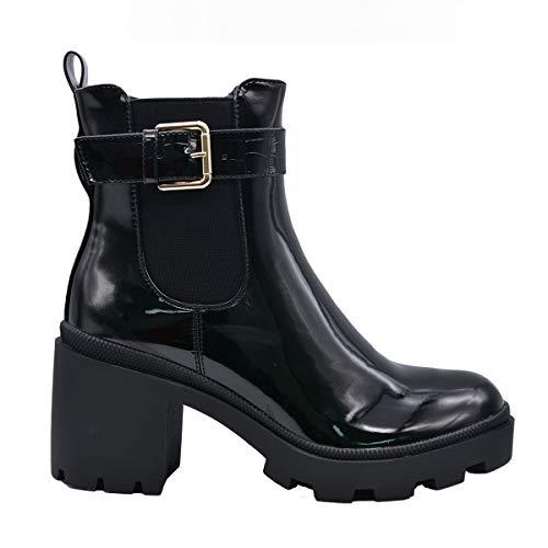 CucuFashion Chelsea Black Buckle Boots for Women Ladies Ankle Boots Block Medium Heel Mid Heeled Anckle Boots Womens Chelsea Boots Ladies Buckle Shoes