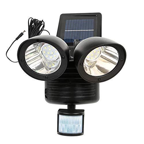 LNIMIKIY LED-Solarbetriebenes Sicherheitslicht, Doppel-LED, wasserdicht, eingebaute PIR-Bewegungs- und Nacht-Sensor-Lampe – Doppellichter 60 Sekunden Dim 2-5 m Bewegungsmelder, Radius 5 m Kabel