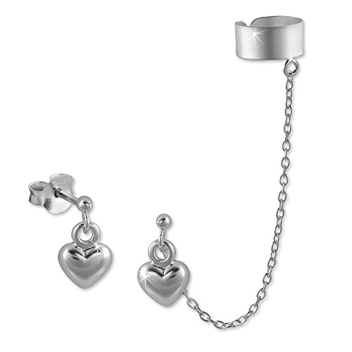 SilberDream Ohrschmuck Ohrringe - Ohrstecker Herz mit einem Helix Ohr Clip Piercing 925er Sterling Silber SDO8871 (Sterling Silber Ohr Piercing)