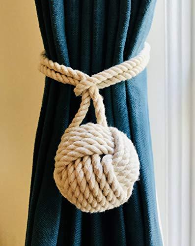 Raffhalter für Vorhänge, nautisches Design, Baumwolle, Doppelseile, Weiß