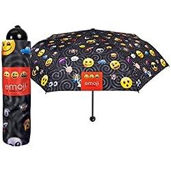 Paraguas PERLETTI niños mini manual Emoji anti-viento negro 75272