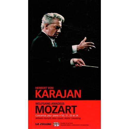 Wolfgang Amadeus Mozart  -  tome 2: Concertos pour piano n°20, n°21, n°23, n°24. Wilhelm Kempff, Dinu Lipatti, Walter Gieseking. Double cd et livret.