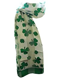 New Company Womens St Patricks Day Shamrock Clover Irish Scarf - White - One Size
