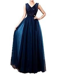Gorgeous Novia trency double-v larga fiesta prom vestido con cuentas diseño de vestido de