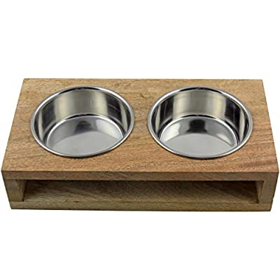 CJ's Double Raised Pet Feeding Station with Stainless Steel Bowls and Solid Wooden Stand from CJ's Pets