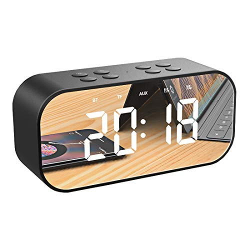 Radio, Wireless Bluetooth Speaker, USB Charger, Tf Card Player, Thermometer, Large Mirror Led Dimmable Display Aux-in Function Hotel, Home, Office, Bedroom, Travel,Black ()