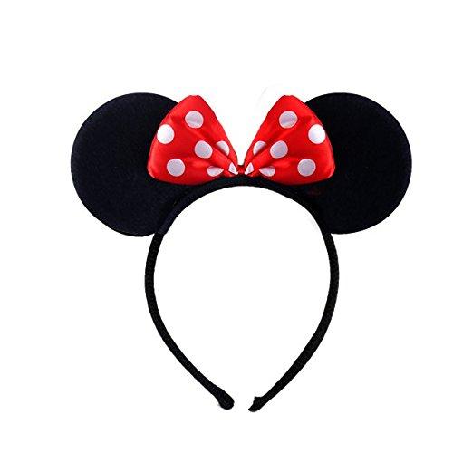 Fancy MINNIE MINI MOUSE EARS HEADBAND Dress Disney Spotted Red Bow Ladies Kids Girls