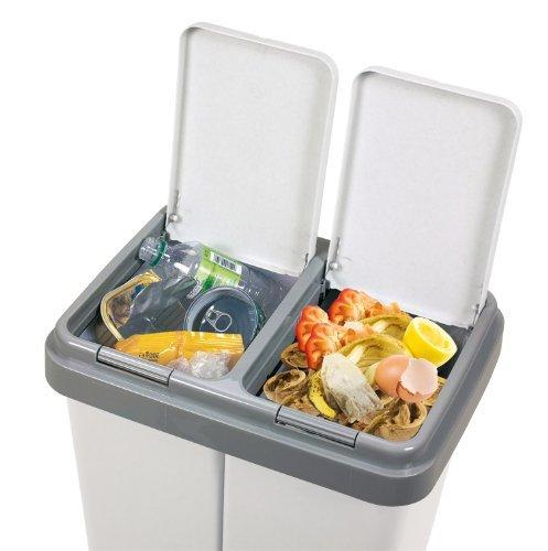 *Alpfa Müllbehälter 2 x 30 Liter Duo Bin Grau Granit Made In Europe Inkl. 2 Ersatzfedern*
