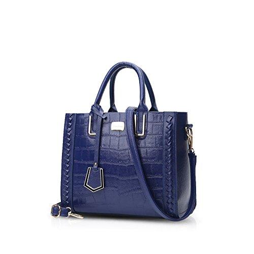NICOLE&DORIS Luxus Frauen Top-Griff Handtaschen Umhängetasche Crossbody Tasche Tote Satchel Geldbörse Krokodil Muster PU Leder Blau (Krokodil-muster-leder)