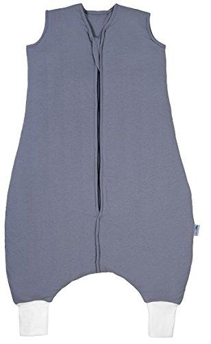 Schlummersack Schlafsack mit Füßen ganzjährig in 2.5 Tog - Anthrazit- 18-24 Monate/90 cm - Jersey Gefütterte Hose