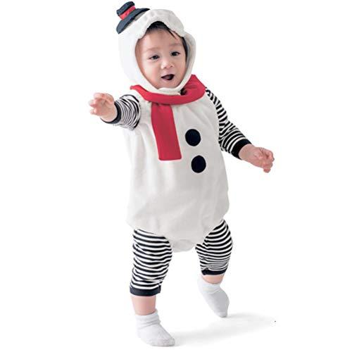 Odziezet Weihnachten Kostüm Baby Overall 3PC Weihnachten Schneemann Strampler Baby Strampler + Cap Cosplay Kombinations Schlafanzug Weihnachten Set 6-18 Monate