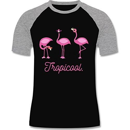 Shirtracer Vögel - Tropicool Flamingo Gang - Herren Baseball Shirt Schwarz/Grau Meliert