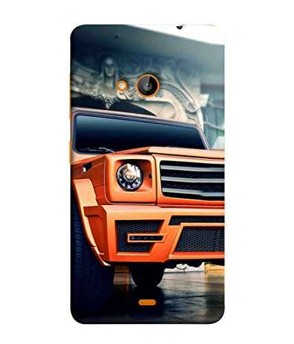 Printfidaa Microsoft Lumia 535, Microsoft Lumia 535 Dual SIM, Nokia Lumia 535 Back Cover Orange Car Printed Designer Back Case