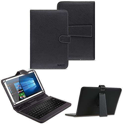 NAUC Keyboard Micro USB Tastatur für 10-10.1 Zoll Tablet QWERTZ Tastatur Schutzhülle Kunstleder Standfunktion Magnetverschluss, Tablet Modell für:ODYS Ieos Quad 10 Pro