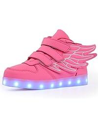 KuBua Unisex niños Zapatillas con LED luz USB de Carga de 7 Colores Luminosas Zapatos con Luces Deporte Niñas niños Azul Blanco Negro Rojo Verde Rosa