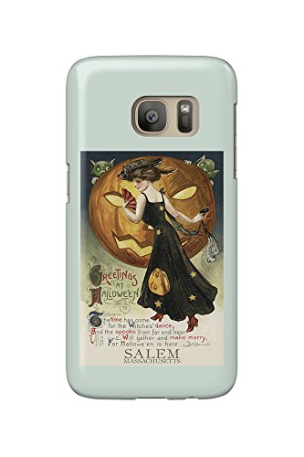 Salem, Massachusetts - Halloween Witch Dance - Vintage Postcard (Galaxy S7 Cell Phone Case, Slim Barely - Massachusetts Salem Halloween An