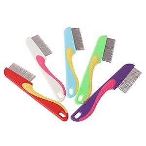 Junlinto, Peigne à Chat denses Dents Massage Cheveux Propres en Acier Inoxydable toilettage Animal brosses Couleur au Hasard