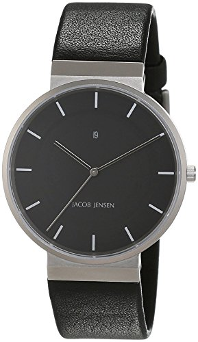 JACOB JENSEN Herren Analog Quarz Uhr mit Leder Armband Dimension Series Item NO.: 880