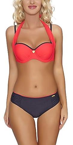aQuarilla Femme Bikini Set Maillot de Bain Séparables/2 Piéces (Rouge/Graphite, EU 38 = FR 40)