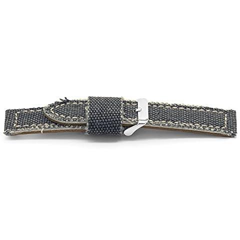 Claudio Calli Toile avec cuir bracelet de montre Spyker Bleu avec boucle ardillon en acier inoxydable 22mm h609