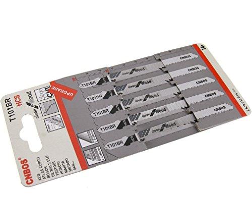 Lot de 5 T101br 100 mm Lames de scie sauteuse HCS pour bois laminé Planche à découper