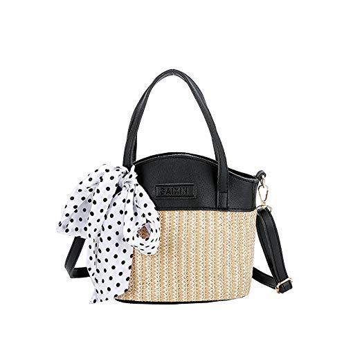 LFGCL Bags womenSimple EIN-Schulter-Strohtasche Wild Beach Holiday Bucket Bag, schwarz