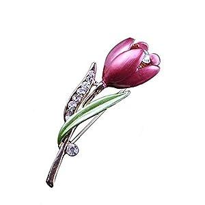 AILUOR Damen Elegante Emaille-Tulpe-Blumen-Brosche, Mode Opal Kristall Strass Blumecorsage Schal Pins Schmuck Accessoires Kleidung Blumenstrauß Broschen