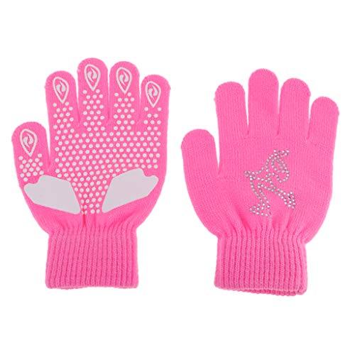 IPOTCH Damen Mädchen Eislaufen Handschuhe Magic Stretch Sporthandschuhe Winterhandschuhe Skihandschuhe mit Strass Deko - Pink S