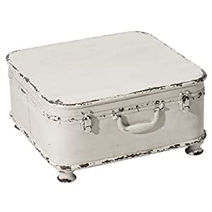 Pureday miaVILLA Coffee Table Side Table Suitcase with Storage Shabby Chic Metal White