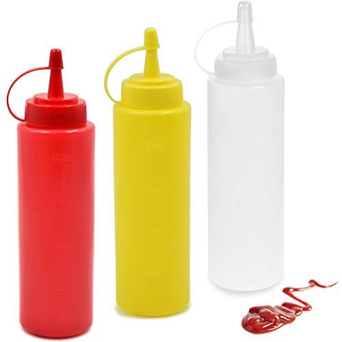 cococity 3pcs Quetschflasche Ketchup 240ml Spender Flaschen 8oz Garnierflasche für Haus, Restaurant, Senf, Mayo, Dressings, Olivenöl, BBQ Sauce- BPA Frei - Gießen Olivenöl Top
