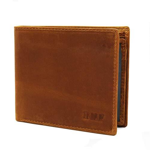 BMF Kreditkartenetui, Echtes Leder, Geldbörse RFID-Blocker,Herren, Geldbeutel Geld-Clip Wallet Portmonee,Portemonnaie Geldschein, Münze, Braun -