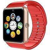 YinoSino GT08 Smart Watch / Reloj inteligente GT08 (disponible en español) / Reloj Bluetooth / Reloj Android / Reloj para la salud con pantalla táctil y cámara, Tarjeta Sim y puerto para tarjeta TF, batería de larga duración en tiempo de espera para teléfonos smartphone Android y los dispositivos IOS de iPhone (Rojo)