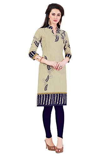 Salwar Studio Women's Beige & Navy Blue Cotton Floral Printed Unstitched Kurti Fabric (only Kurti Fabric)  available at amazon for Rs.475