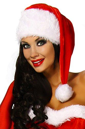 ütze, Zipfelmütze Weihnachten rot weiß (Flauschige Nikolausmütze)