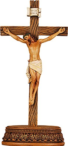 22.86 cm (23 cm), mit JESUS, Kruzifix, stehend, aus Harz, mit Holz-Kreuz & Corpus Christi. in Geschenkbox