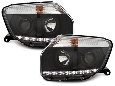 Echtes LED Tagfahrlicht Scheinwerfer schwarz Klarglas mit Dimmfunktion Sonar Modul