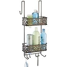 mDesign Estanteria para ducha - para colgar en la puerta - Estanteria de  baño colgante en b0546e4421b3