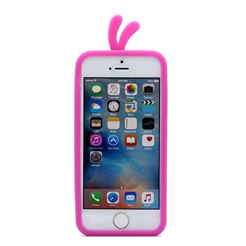 iPhone 5 / 5S / SE Custodia Cover , Keyihan Morbida Silicone Motivo Moda 3D Protettiva Case per Apple iPhone 5/5S/SE (Gatto verde) Red Rose