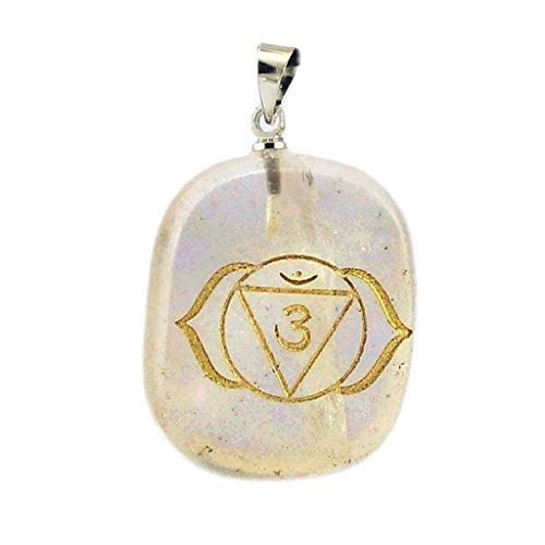 Klar Halskette Quarz Kristall (Edelstein Kristall Anhänger Halskette Macht Heil Gilded Kette - Klar Quarz)