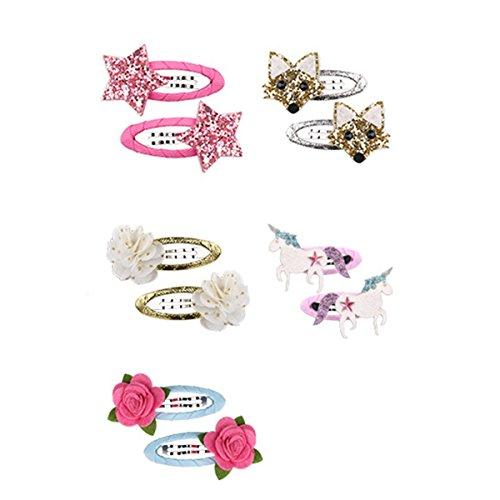 Tukistore 5PCS haarspangen Mädchene 3D Glitzer Glitter Muster,Haarschmuck Süße Haarclip Stirnbänder;B Ribbon Bow Stirnband