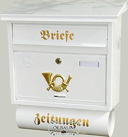 Wandbriefkasten,NEU Toller Briefkasten, Premium-Qualität aus Stahl, verzinkt, pulverbeschichtet F groß in edelweiss weiß schneeweiss Zeitungen Post antik Mailbox Schild