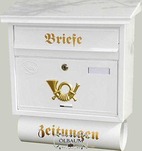 Cassetta delle lettere da parete cassetta della posta, nuovo bellissimo, grande XXL, qualità premium in acciaio zincato, in polvere F grande in Edelweiss Bianco candido giornali Post antico Mailbox scudo