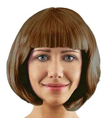 ADULTS THICK QUALITY BOBBED 20'S PARTY COSPLAY SHORT WIG AVAILABLE IN 10 DIFFERENT COLOURS - BLACK, RED, BROWN, BLONDE, PURPLE, WHITE, GREEN, HOT PINK, BABY PINK AND DARK PURPLE. (BROWN) MANUFACTURED BY ILOVEFANCYDRESS