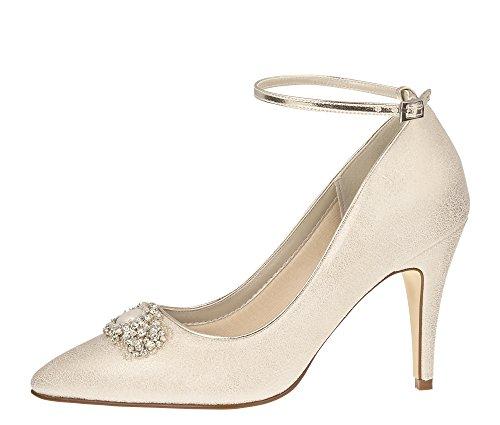 Rainbow Club Brautschuhe Ceri - Pumps Stiletto Riemchen Champagner - High Heels - Gr 37 EU 4 UK - Glamour Satin Brautkleid