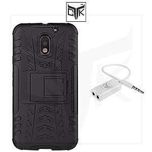 TheGiftKart™ Combo for Motorola Moto E3 POWER 3rd Gen (Combo of 1 Back Cover + 1 Audio Splitter) - TheGiftKart™ Tough Hybid Dual Layer ShockProof Armor with Kick Stand Back Case Cover + Audio Splitter